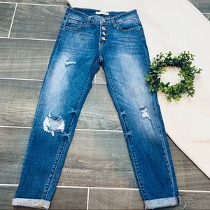 KanCan Alexa button fly distressed holey jeans
